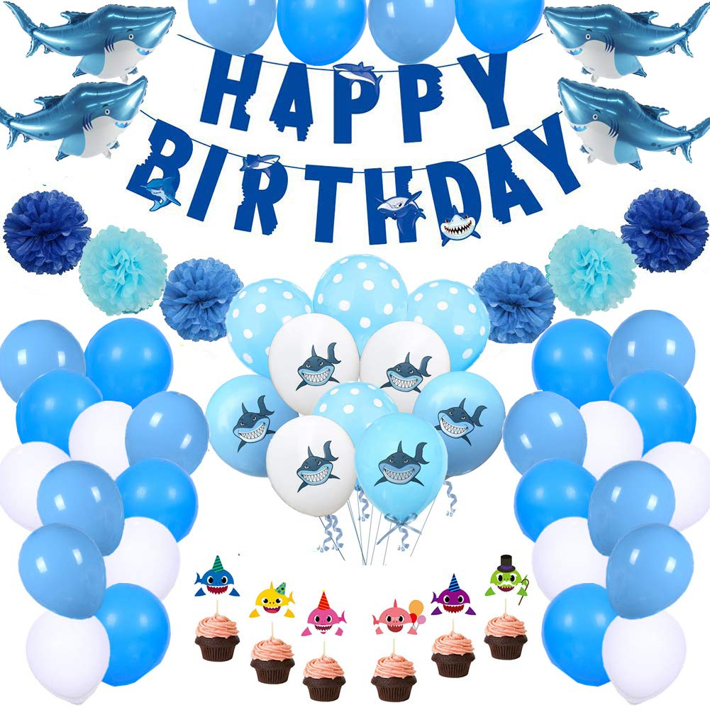 69Pcs Shark Birthday Party Decorations Shark Theme Party Supplies for Kids Birthday Party Baby Shower Shark Happy Birthday Banner Shark Cupcake Toppers Ocean Blue Color Balloons Mini Shark Foil Balloons Paper Flower Birthday Supplies Set for Girls Boys