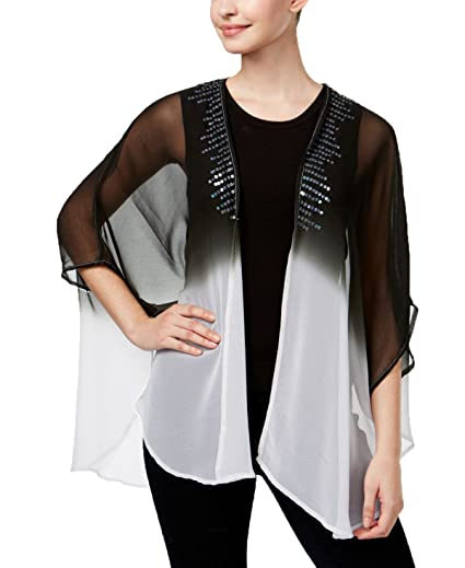6ce8c82f237 Steve Madden Womens Sequined Ombre Kimono One Size Fits Most Black ...
