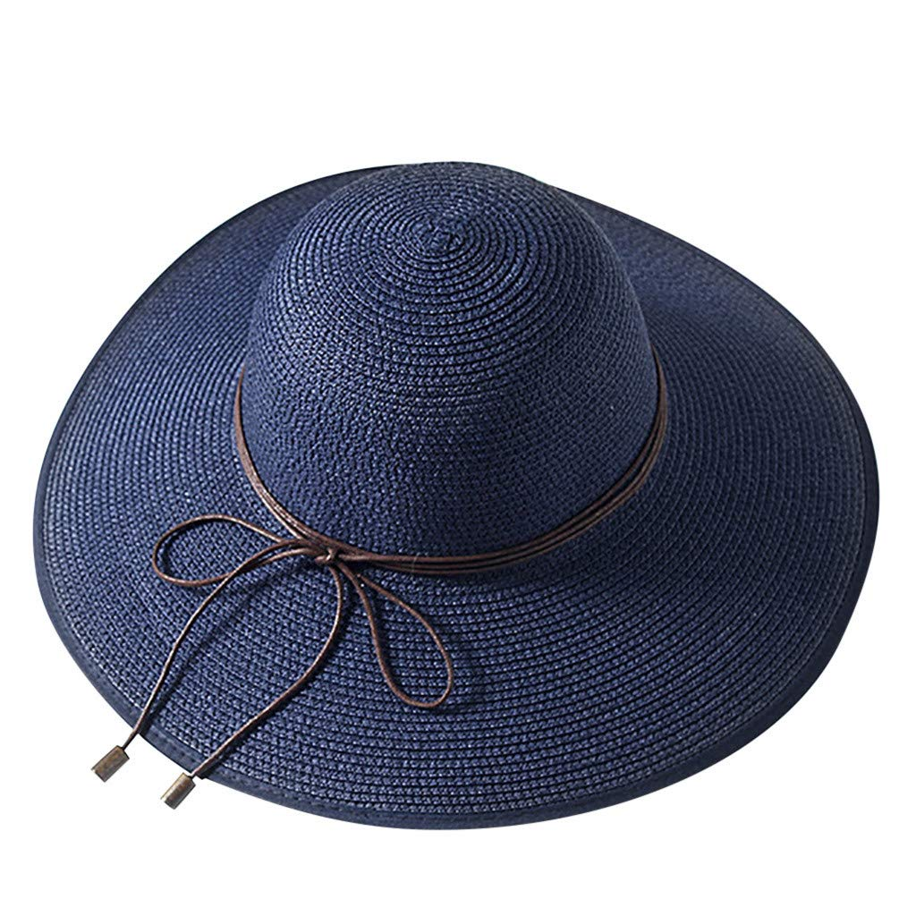8caeaf7e17a Amazon.com  Women Straw Big Brim Bow Hat Sun Floppy Headdress ...