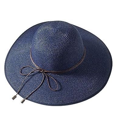 MVPKK Sombrero de Paja para Mujer con Corbata de Moño Mujeres ...