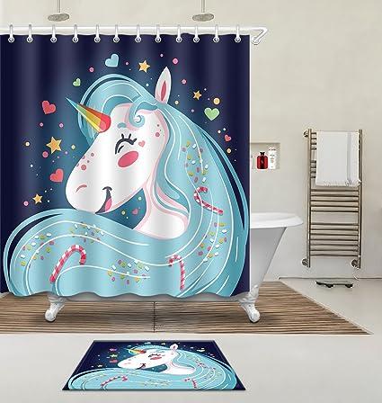 Cartoon Cute Children Kids Unicorn Bathroom Shower Curtain Polyester Fabric 3D Digital Printing 72x72 Mildew Resistant