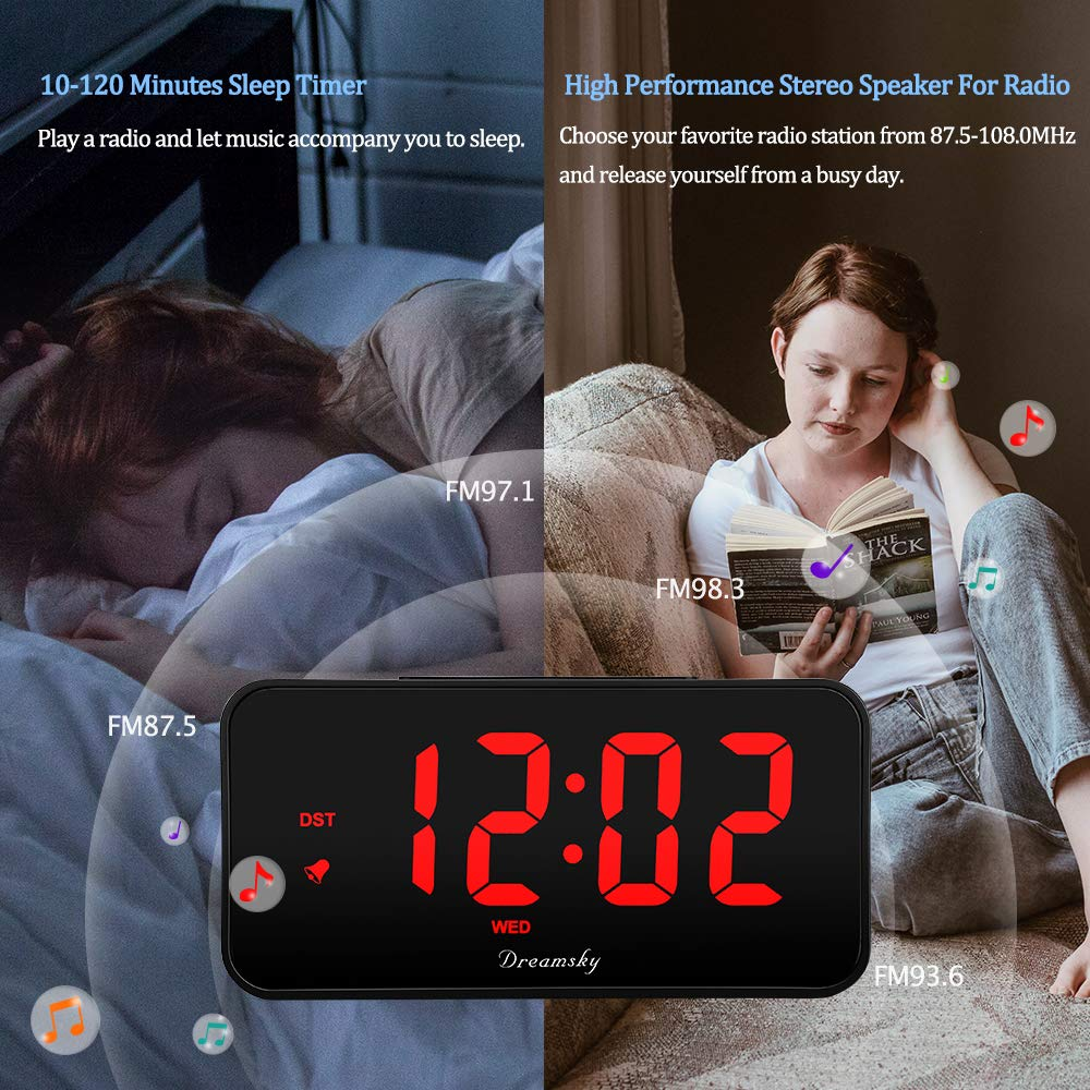 DreamSky 7 3 Inches Large Alarm Clock Radio with FM Radio and USB Charging  Port, 2 Inches Number Display with Dimmer, Adjustable Alarm Volume, Weekday