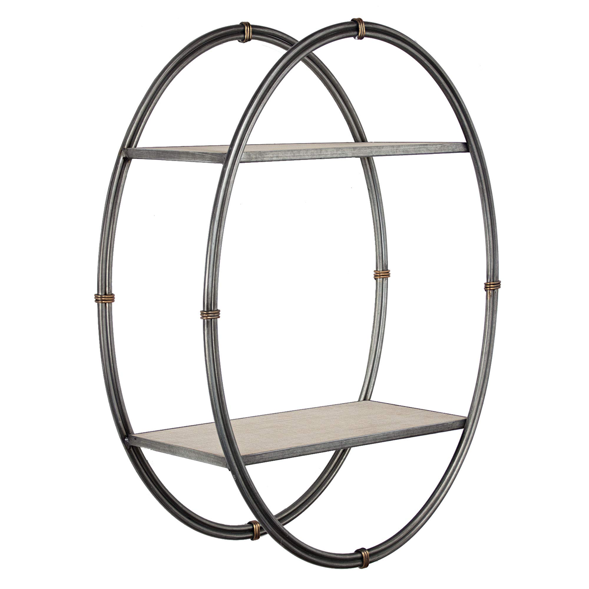 American Art Décor Wood and Metal Hanging Oval Wall Shelf and Rack – Farmhouse Décor