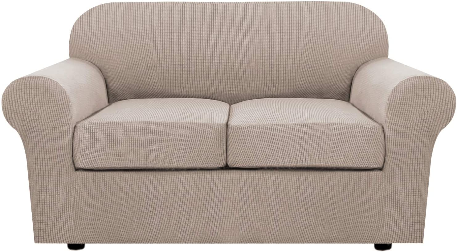 3 Piece Stretch Sofa Covers for 2 Cushion Loveseat Couch Covers for Living Room Sofa Slipcovers Furniture Cover (Base Cover Plus 2 Seat Cushion Covers) Thicker Jacquard Fabric(Medium Sofa, Sand)