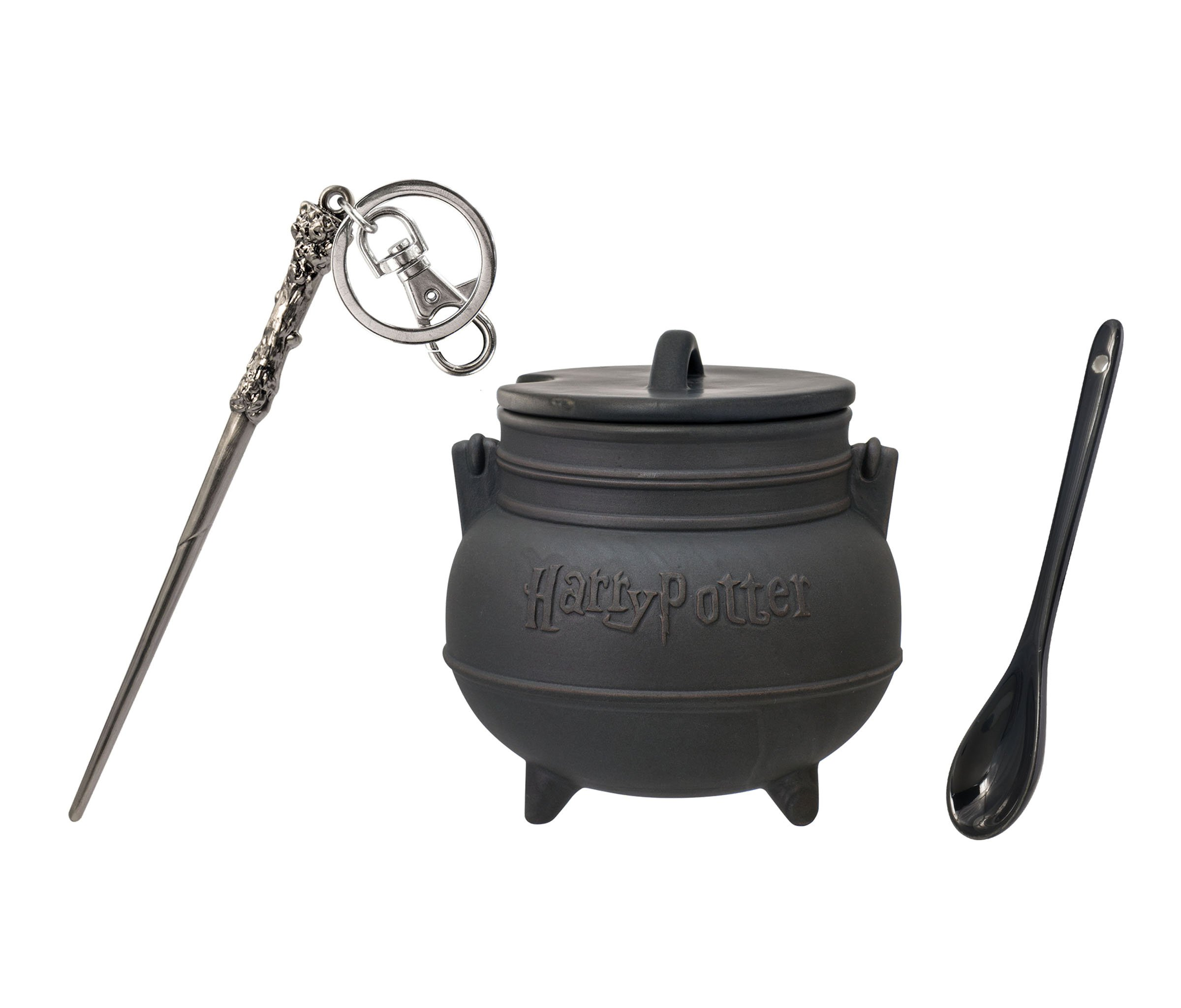 Mozlly Value Pack - Harry Potter Black Cauldron Ceramic Soup Mug with Spoon (3pc Set) AND Harrys Wand Pewter Key Chain - Novelty Character Accessories - Item #K124014-124010