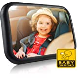Baby Car Mirror, Car Seat Mirror with Shatterproof Acrylic Glass, Two Buckles for Secure, 360° Adjustable Infant Mirror…
