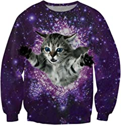 ZURIC Purple Womens Crew Neck Pullover Cat Galaxy Printed Sweatshirt