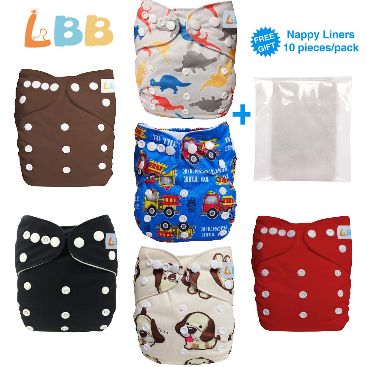 6 pcs Aanimal One Size Reusable Baby Cloth Pocket Diapers 6 Inserts