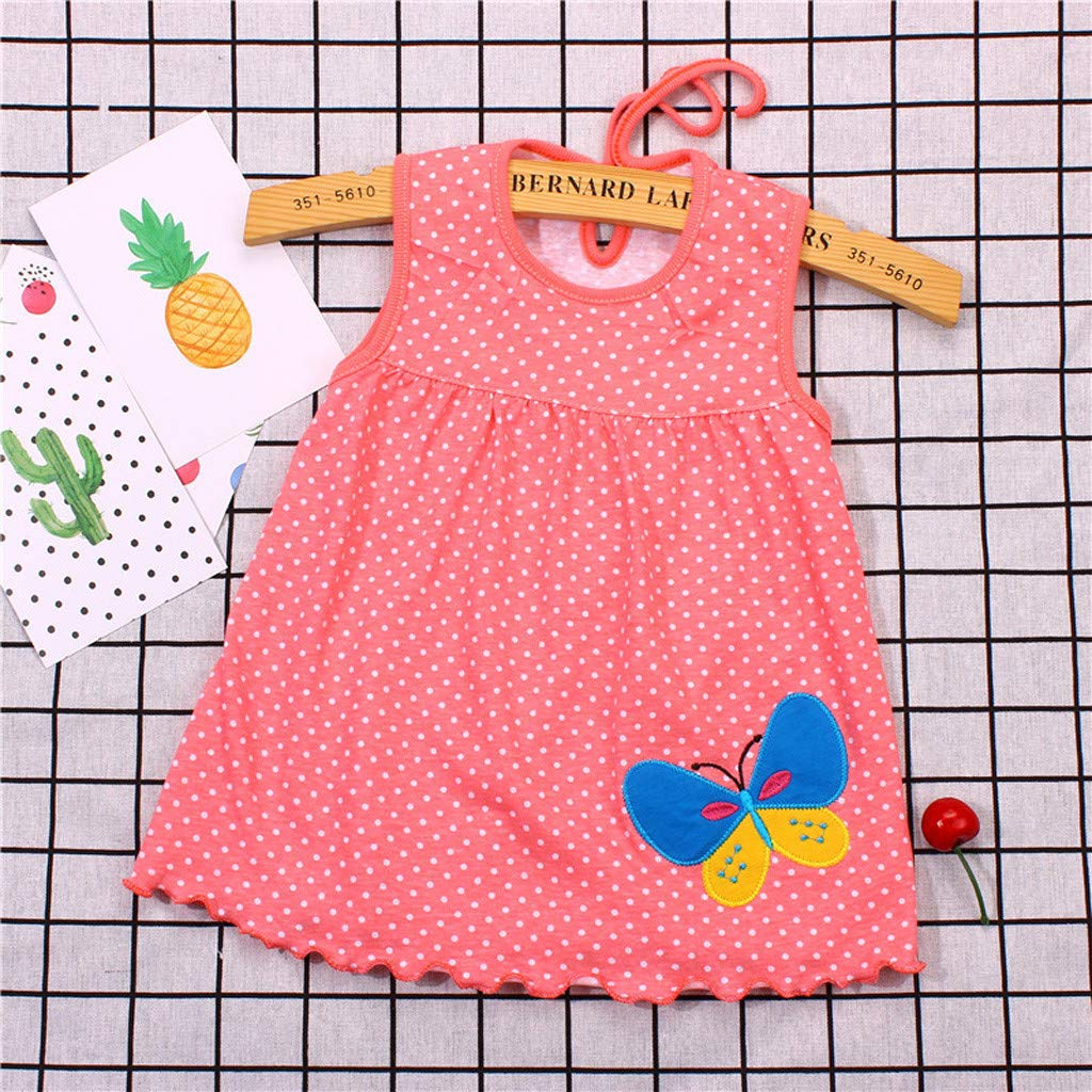 Snakell M/ädchen Kleider Mode Baby Kleider Sommerkleider Knielang Kleider mit Polka Dots M/ädchen /Ärmellos Blumenkleid Cartoon T-Shirt Kleider Tank Kleid