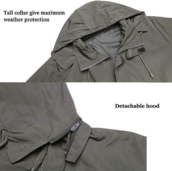 cortavientos impermeable Chaqueta de lluvia para hombre 100 /% poli/éster de manga larga con capucha SwissWell