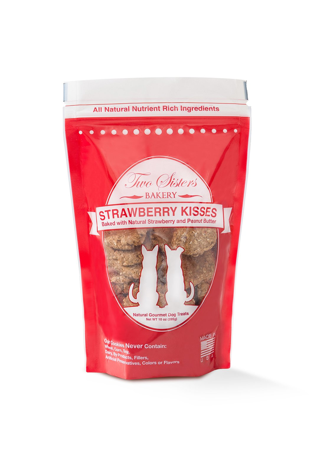Two Sisters Bakery Strawberry Kisses Dog Cookies (1 Pouch), 10 oz