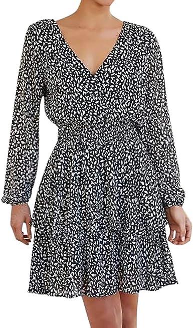 CLOOM Vestido Lunares ImpresióN Faldas Mujer Invierno Sexy Escote ...
