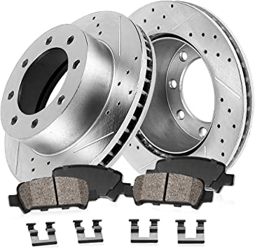Rear Disc Rotors /& Ceramic Brake Pads Fits Dodge Ram 1500 2500 3500