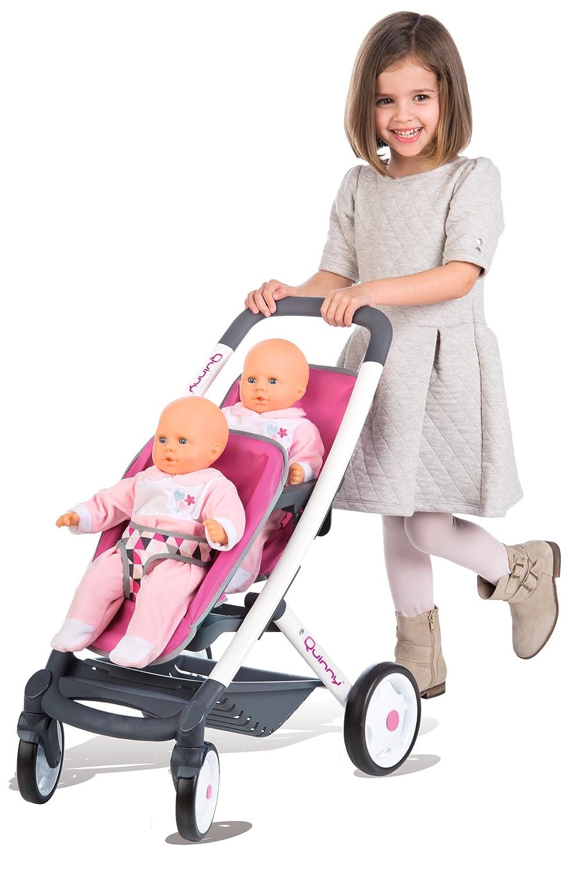 Smoby 253297 Silla de Paseo gemelar de Juguete Accesorio para muñecas - Accesorios para muñecas (Silla de Paseo gemelar de Juguete, 3 año(s), Negro, Rosa, ...