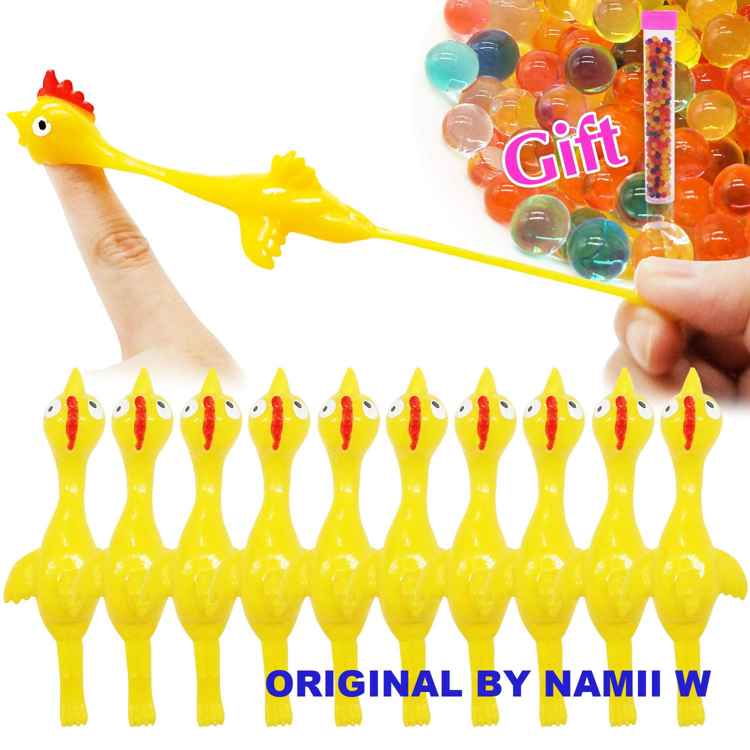 Namii W Slingshot Chicken Flick Chicken Fingers Stretchy Flying Chicken (10 Pack) Tricky Game Player's Favorite Scented Stress Relief Toy A Tube Water Beads (Yellow)