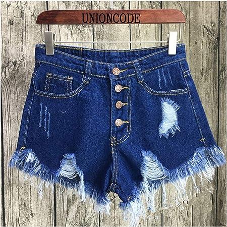 Pantalones Cortos De Mujer Rip Fringe Agujero Azul Denim Shorts Mujer Casual Bolsillo Vaqueros Pantalones Cortos De Verano Chica Caliente Xl Amazon Es Deportes Y Aire Libre
