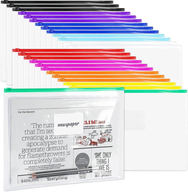 LABUK 48 Pack Poly Zip Envelopes, A4 Size Plastic Envelopes File Folder with Zipper, Plastic Folders with Label Pocket for Home Work Office Organization, Letter Size, 10 Colors
