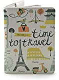 Time To Travel (Both Sides Printed) - White - Wanderlust Collection - Leather Vintage Map - Passport Holder - Travel…