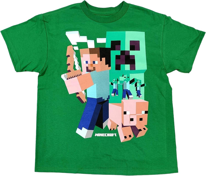 Amazon.com: Minecraft Shirt for Boys Art Deco Steve Short Sleeve
