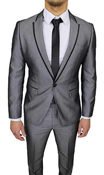 Amazon.com: Kelaixiang - Traje para hombre, color gris ...