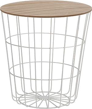 Meinposten Beistelltisch Tisch Stauraum Korb Couchtisch Metall Holz