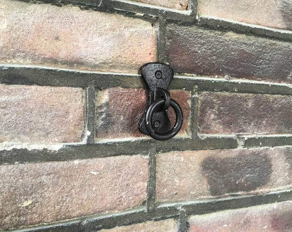 zeitzone Anbindering Mauerring Befestigungsring Wandring Gusseisen Antik-Stil Schwarz