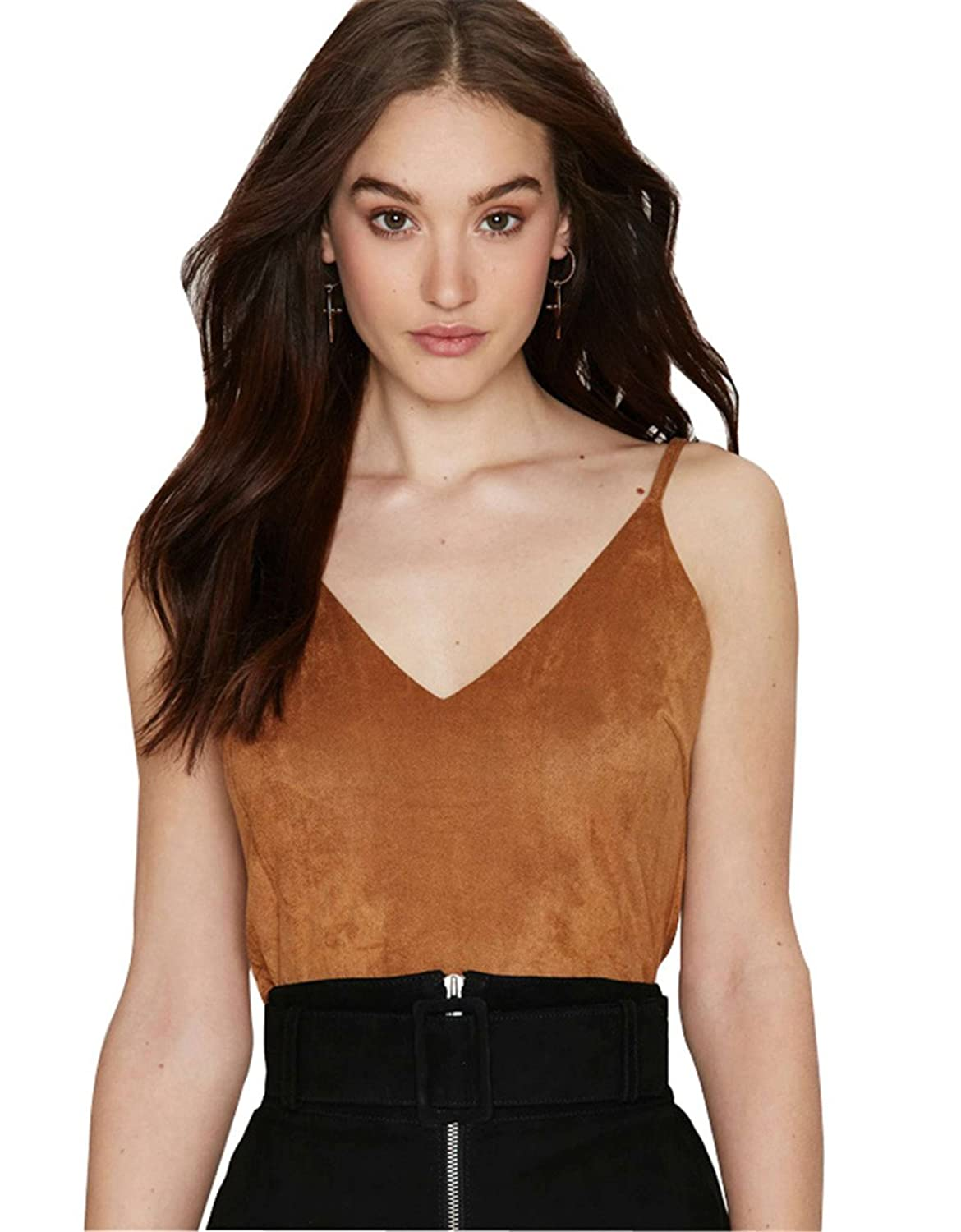 Sexy Sleeveless V-Neck Caged Cutout Faux Suede Vest Cami Top Tan