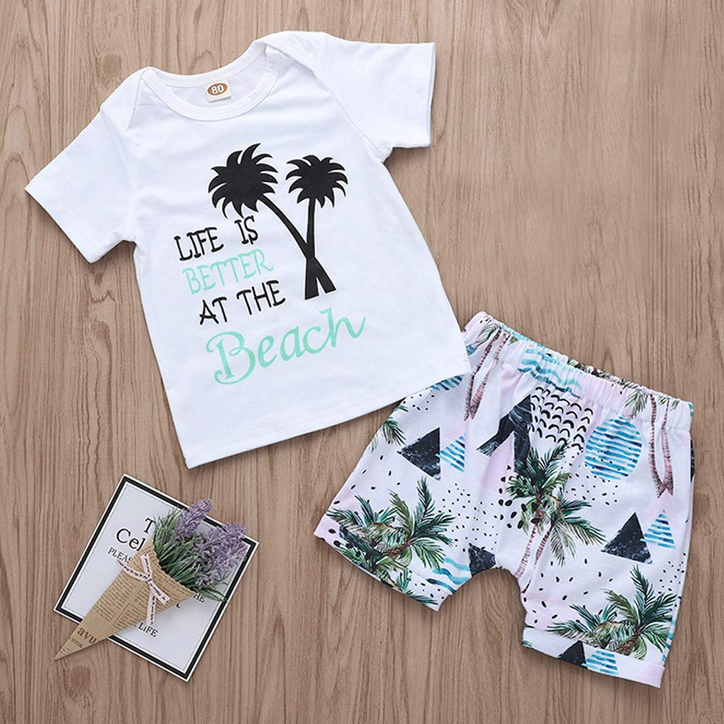 Lavany Baby Boys Girls Outfits 2pc Short Sleeve Beach Print Tops+Shorts Clothes Set White by Lavany (Image #2)