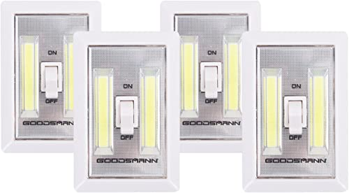 GOODSMANN LED Night Light Wall Light Emergency Lights Switch Cordless Portable Closet Light Multi-Use Self-Stick Battery Operated Night Wall Light, 4 Pack 9924-0011-12