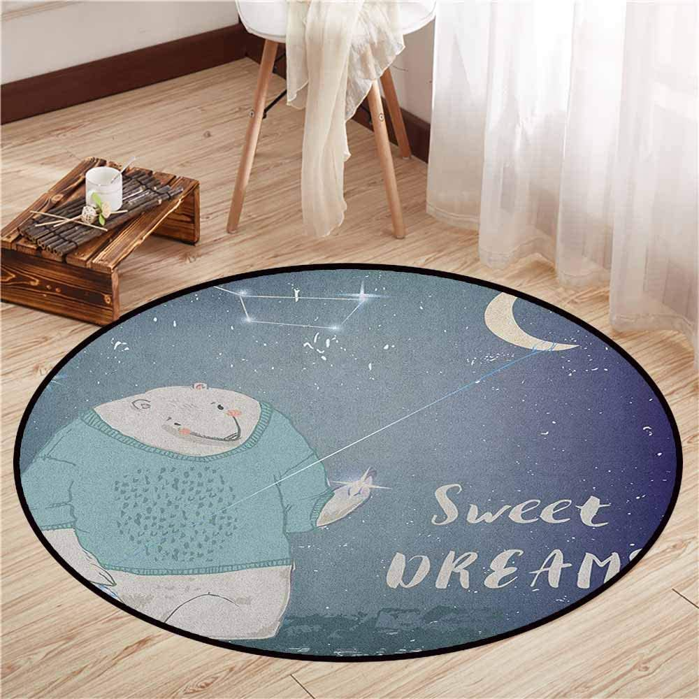 "Skid-Resistant Rugs,Kids,Polar Bear in a Sweater Holding a Star in His Hand Sweet Dreams Print,Children Bedroom Rugs,4'11"" Pale Grey Indigo Seafoam"