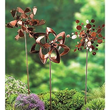 Plow & Hearth Set of 3 Metal Pinwheel Decorative Garden Stakes 7 L x 4.25 W x 22 H Copper Finish