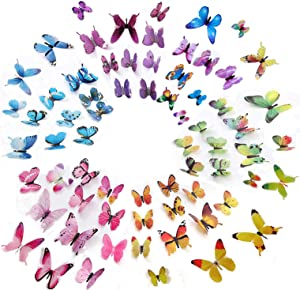 Heansun 72 PCS Butterfly Wall Decor, 3D Butterfly Wall Decals Wall Stickers Decal for Home and Room Decoration