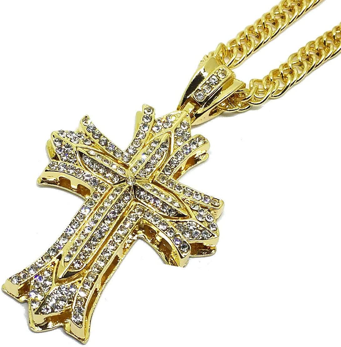 Hip Hop Personality Hollow Full Cross Pendant CZ Zircon Stone Stainless Steel Necklace Hanging Ornaments For Men Women