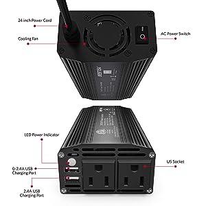 BESTEK 300W Power Inverter DC 12V to 110V AC Car Inverter with 4.2A Dual USB Car Adapter (Black) (Color: Black)