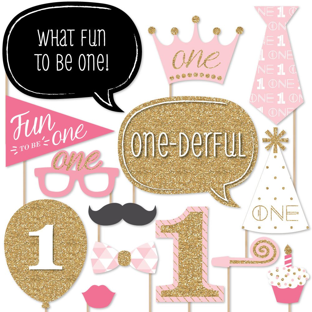 Buy Big Dot Of Happiness 1st Birthday Girl Fun To Be One Photo Booth Props Kit Set Of 20 Online At Low Prices In India Amazon In