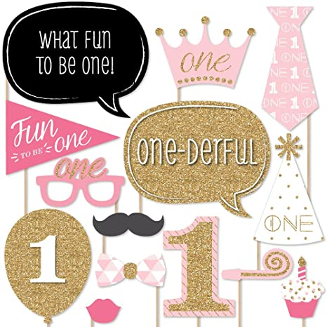 543c3b037e1 Amazon.com  Big Dot of Happiness 1st Birthday Girl - Fun to be One - First  Birthday Party Photo Booth Props Kit - 20 Count  Toys   Games