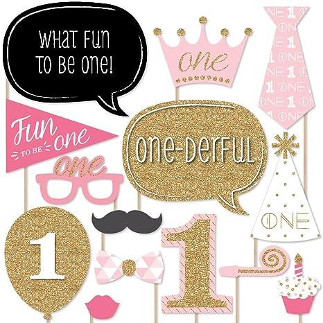 ef75f8c5618f Amazon.com  Big Dot of Happiness 1st Birthday Girl - Fun to be One ...