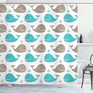 "Ambesonne Sea Animals Shower Curtain, Pattern Smiling Whale Cartoon Repeated Design Children Illustration, Cloth Fabric Bathroom Decor Set with Hooks, 70"" Long, Turquoise White"