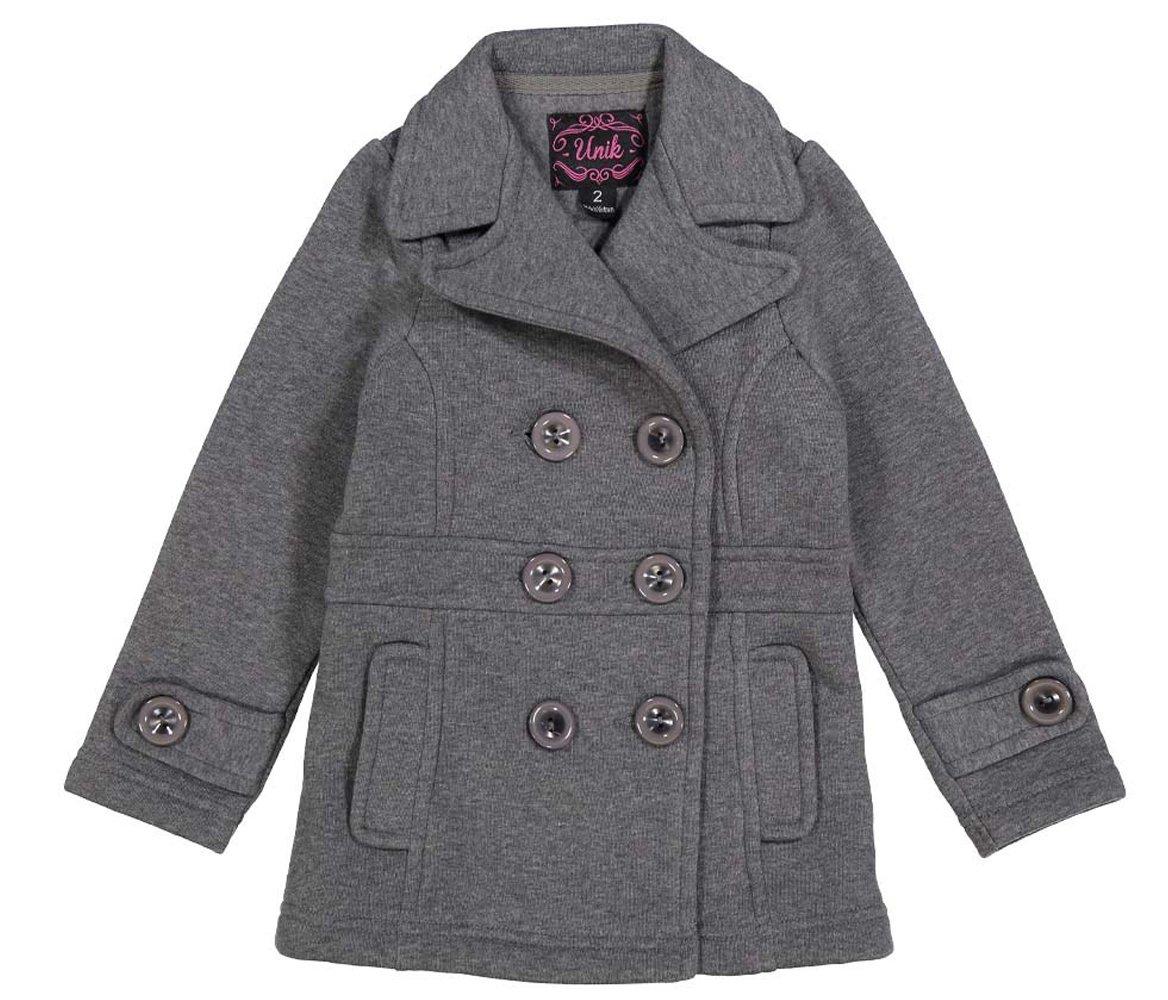 unik Girl Fleece Coat Double Breasted, Dark Grey Size X-Large