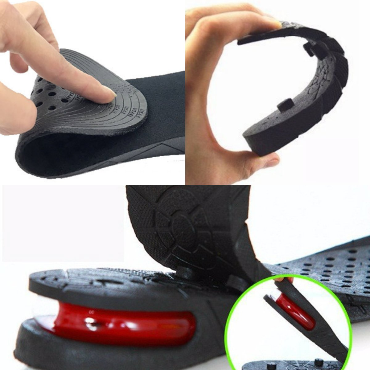 High Quality Kaxa Air Cushion Height Increase Elevator Shoes Insole Lift Kit For Men and Women (3 Layers, Black)