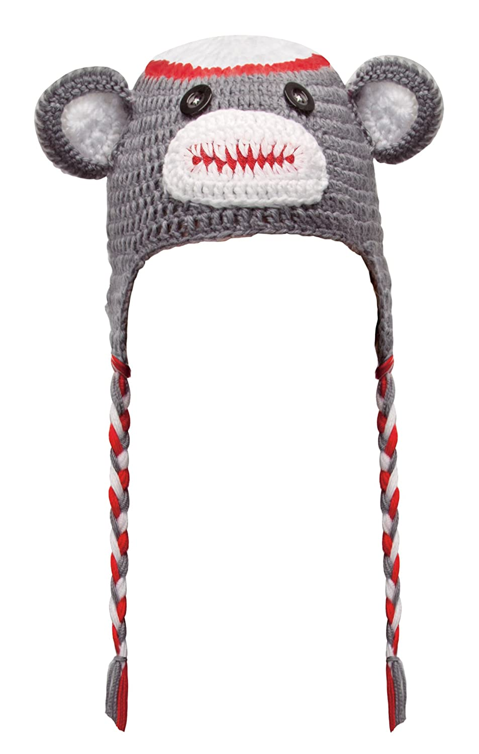 Amazon.com: Zombie Monkey Hat - Knit Animal Beanie with Braided Ties ...