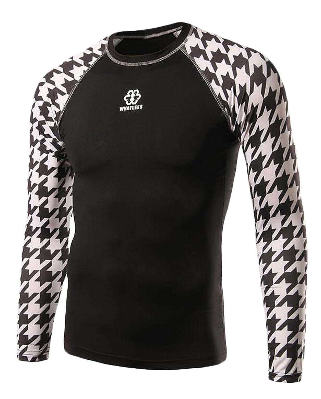 NQ Men's Basic Plaid Print Long Sleeve Sport Slim T Shirts