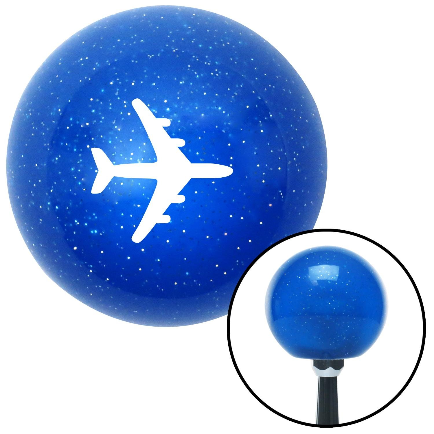 American Shifter 21676 Blue Metal Flake Shift Knob White Commercial Airplane