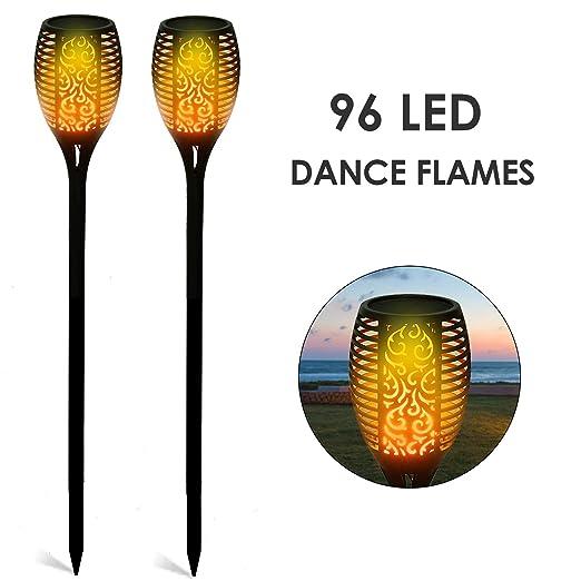 Deckey - Lámpara solar para jardín, antorchas de jardín, 2 unidades, lámpara solar, antorchas de jardín con llamas realistas, fácil montaje y resistente al agua IP65: Amazon.es: Iluminación