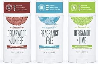 product image for Schmidt's Deodorant Stick Variety Pack (Cedarwood & Juniper, Fragrance-Free, Bergamot & Lime)