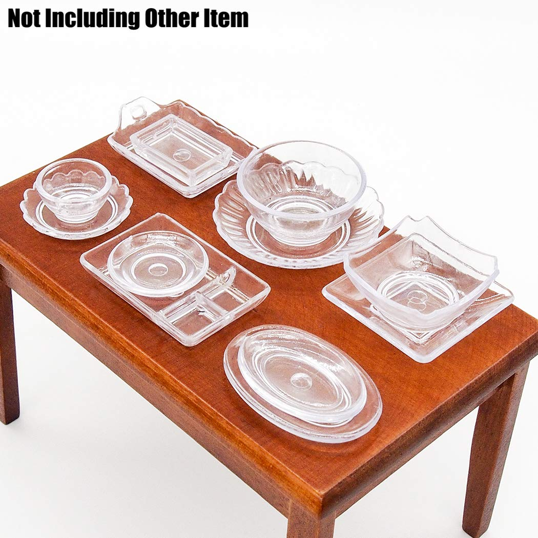 Odoria 1:12 Miniature 12PCS Clear Tableware Set Cookware Kit Plate Dish Bowl Dollhouse Kitchen Accessories