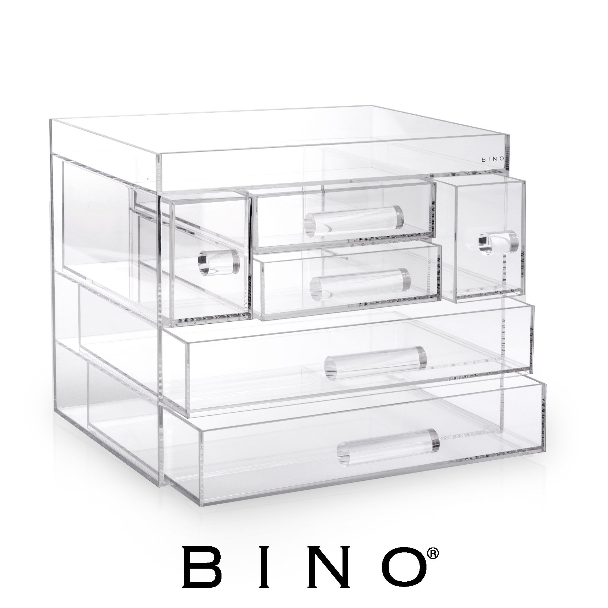 BINO Acrylic Jewelry and Makeup Chest Organizer with 6 Removable Drawers - Clear and Transparent Big 5-Tier Cosmetic Storage Display Box Case