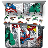 Jay Franco Marvel Avengers Comic Cool 7 Piece Queen Bed Set - Includes Comforter & Sheet Set - Bedding Features Captain America, Spiderman, Iron Man, Hulk, Thor - Super Soft (Official Marvel Product)