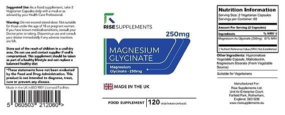 Glicinato de Magnesio - 250 mg - 120 Cápsulas Vegetarianas - Fabricado en UK en Instalaciones con Licencia ISO - Reembolso Garantizado (1 Botella)