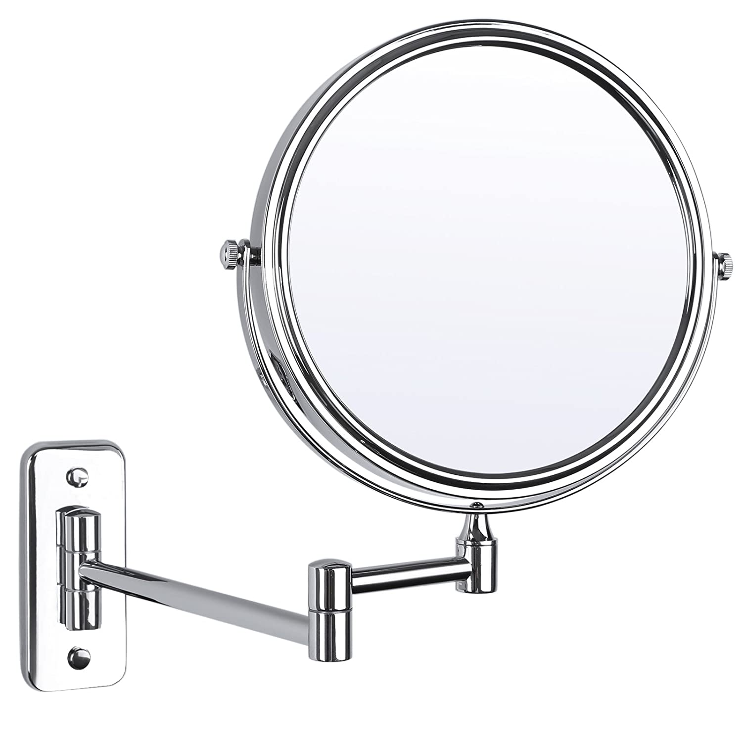SONGMICS 7x Magnifying Wall Mount Makeup Mirror 8-Inch Two-Sided Extendable Bathroom Vanity Mirror Chrome UBBM713